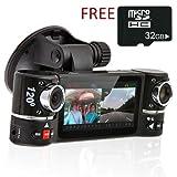"inDigi® Dash Cam 2.7"" TFT LCD Dual Camera Rotated Lens Car DVR w/ IR Night Vision - NEW"