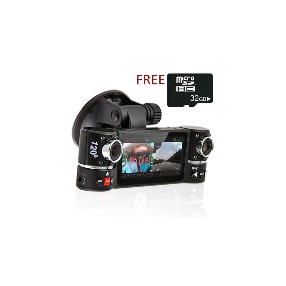 2.7 TFT LCD Dual Camera Rotated Lens Car DVR Video Recorder Dash Cam FREE 32GB