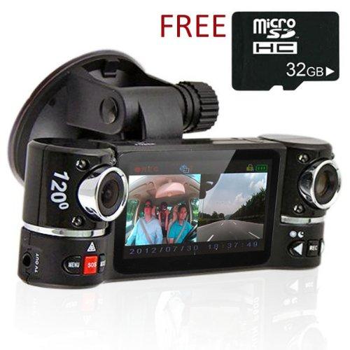 "inDigi® Dual Camera Rotated Lens Car DVR w/ 2.7"" Split LCD+"