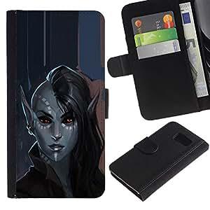 Billetera de Cuero Caso Titular de la tarjeta Carcasa Funda para Samsung Galaxy S6 SM-G920 / elf mystical art portrait fairytale / STRONG