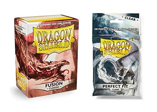 Dragon Shield Bundle: Classic Fusion 100 Count Standard Size Deck Protector Sleeves + 100 Count Clear Perfect Fit Inner Card Sleeves ()