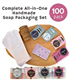 Soap Packaging Set 100 pk   Treat Bags   Favor Bags   Greaseproof Wax Paper Bags with 100 Handmade Stickers and 120 ft. Jute Twine String for DIY Crafts and Party Favors