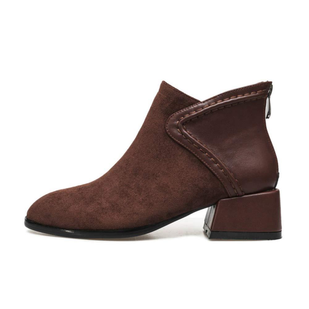 PLNXDM Damen Chelsea Stiefel Blockabsatz Knöchel Reißverschluss