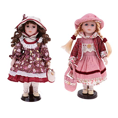 Fenteer 2pcs 30cm Porcelain Doll Vintage Girl People Figure with Golden & Brown Hair Desktop Decor