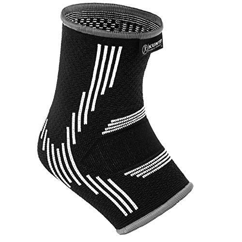 Kunto Fitness Ankle Brace Compression Support Sleeves (1 Pair) for Joint Pain, Achilles Tendon, Plantar Fasciitis, Swelling Relief, Injury Recovery (Medium, White-Gray)