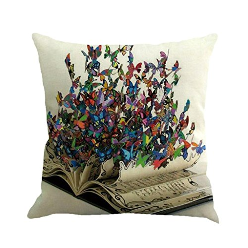 Suede Floral Pillow (Butterfly Throw Pillow Cases, Kimloog Square Flax Cushion Cover Car Sofa Home Decorative 18 x 18 Pillowcase (F))