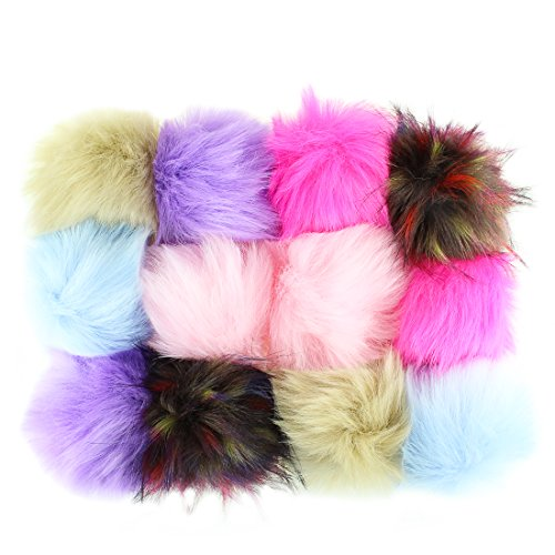 Diy Costumes Fox (12pcs Faux Fox Fur Fluffy Pompom Ball for Hat Shoes Scarve Bag Charms)