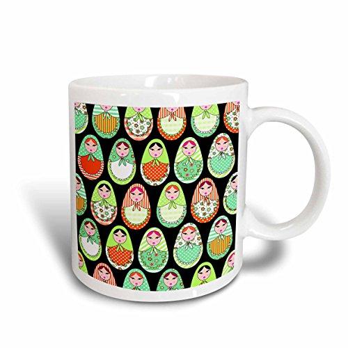 (3dRose mug_58632_1 Cute Russian Matryoshka Nesting Dolls Print Warm Colors Black Ceramic Mug,)