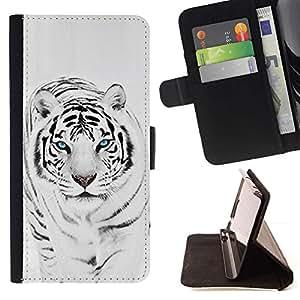 Momo Phone Case / Flip Funda de Cuero Case Cover - Tiger Snow Leopard Invierno Negro Blanco animal de piel - Samsung Galaxy S6 EDGE