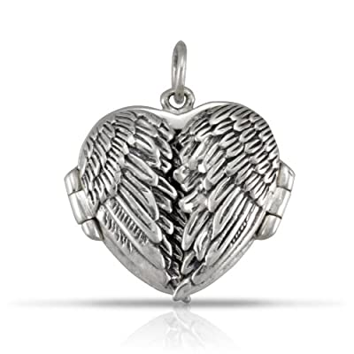 WithLoveSilver Sterling Silver Feather Angel Wing Charms Locket Pendant, Black