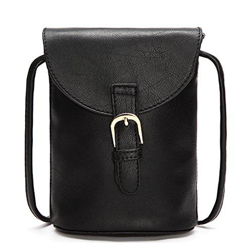 Bolsa de cuerpo cruzado,JOSEKO Mujer Bolsa de cubo de PU Pequeño bolso del teléfono Ocio Little Change Bag Para Smartphone Iphone Negro