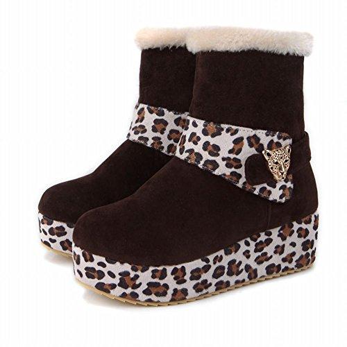Latasa Dames Chic Luipaard Print Platform Mid Sleehak Kort Koud Weer Laarzen Snow Winterlaarzen Bruin