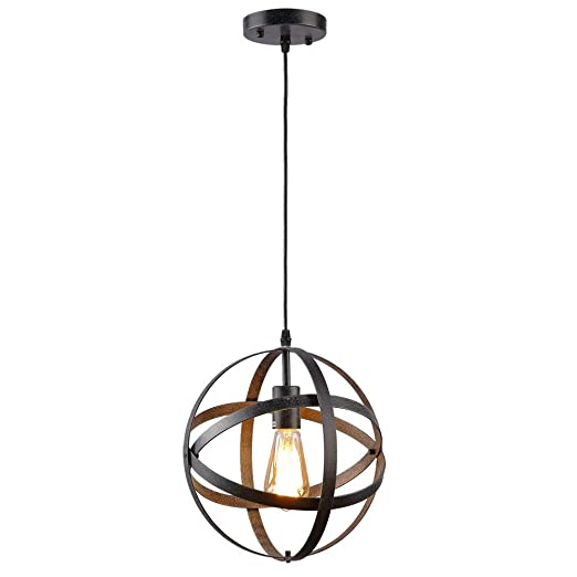 official photos d1391 34f70 Create for Life Rustic Vintage Industrial Spherical Pendant Light, Metal  Globe Ceiling Light Displays Changeable Hanging Light Fixture for Kitchen  ...