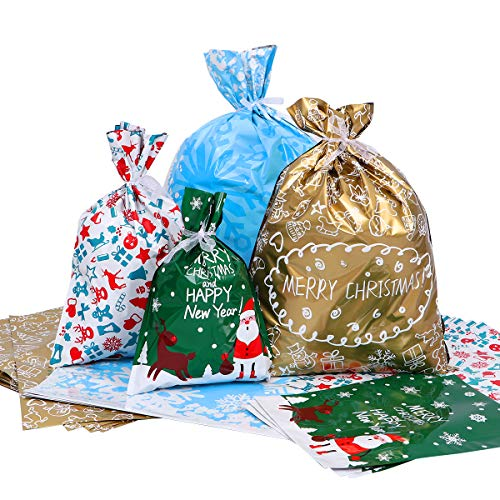LUOEM Christmas Gift Bag Set Assorted Styles Gift Wrapping C