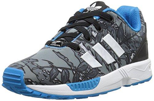 adidas Originals ZX Flux EL I Running Shoe (Toddler), Black/White/Solar Blue, 7 M US Toddler