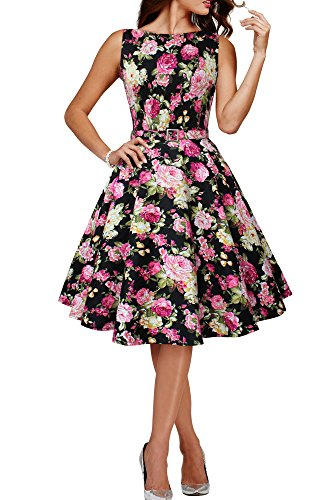 BlackButterfly 'Audrey' Vestido Vintage Años 50 Divinity Negro - Flores Rosas