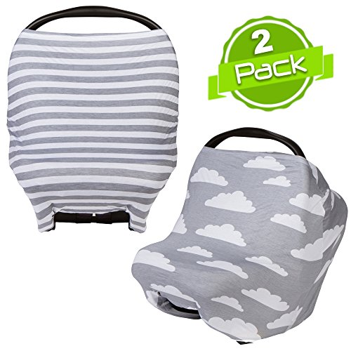 Baby Car Seat Cover Canopy and Nursing Cover Multi-Use Stretchy 5 in 1 Gift (2 Pack) by BaeBae Goods