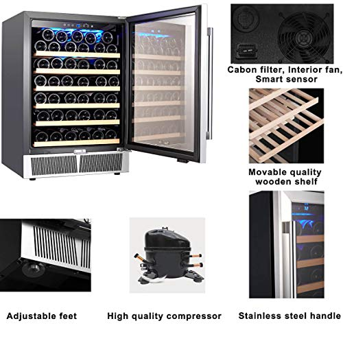 Wine Cooler, Wine Refrigerator, Built-in or Freestanding, AMZCHEF 52 Bottle Wine Refrigerator, Quiet, Constant Temperature, Energy Efficient by AMZCHEF (Image #5)