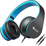 IAXSEE I70 Headphones with Microphone and Volume Control for Kids Boys Lightweight Adjustable Headsets for iPad iPod Android Cell Phones Laptop Tablet Computer(Black Blue)