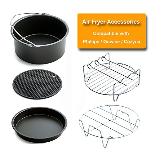 Pack of 5 Universal Air Fryer Accessories Compatible with Phillips Gowise and Cozyna - Cake Barrel, Pizza Pan, Holder, Skewer, Silicone Mat