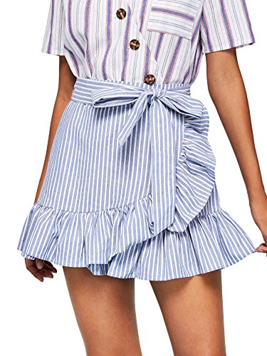 Cute Mini Skirt - SheIn Women's Cute Ruffle Hem High Waist Bow Knot Plaid Mini Skirt Blue Large