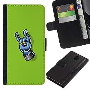NEECELL GIFT forCITY // Billetera de cuero Caso Cubierta de protección Carcasa / Leather Wallet Case for Samsung Galaxy Note 3 III // Heavy Metal Mano