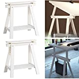 Set of 2 Durable Solid Wood Trestle Legs with Additional Shelf for Table , Desk , Workstation or Drawing Table, Height and Angle Adjustable , White