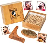 Beard Comb and Brush Set - Beard Trimmer Shaping Tool for Men, Beard and Mustache Trimming Grooming Kit, Wooden Beard Care Kit, Wooden Boar Hair Brush, Beard Shaping Tool Trims and Styles Facial Hair