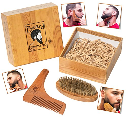 Beard Comb and Brush Set - Men's Wooden Beard Shaping Tool - Perfect Facial Hair Grooming Kit, Exclusive Moustache, Goatee & Neckline Shaving Accessory,Symmetry & Styling, Unique Brush Kit