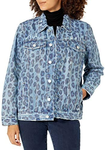 [BLANKNYC] womens Women's Blue Leopard Denim Trucker Jacket