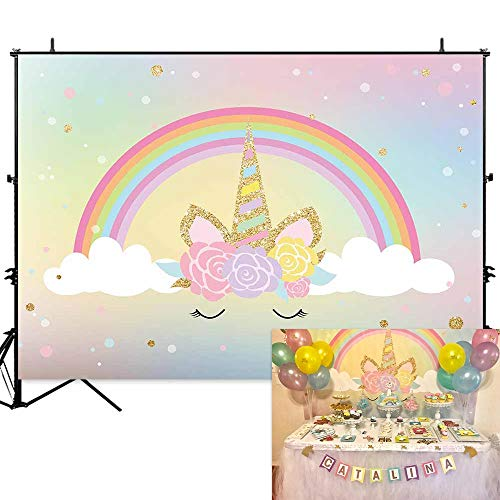 Allenjoy 7x5ft Rainbow Unicorn Birthday Party Backdrop Gold Glitter Dot Watercolor Flowers Baby Girl Shower Photo Booth Background Magical Teal Unicornio Photography Backdrops Cake Table Banner]()