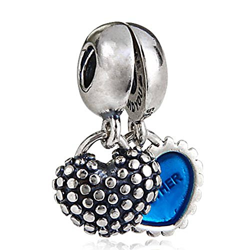 Mother Daughter and Son Heart Charms Authentic 925 Sterling Silver Dangle Bead for European Snake Bracelets (Mother Son Blue Enamel)