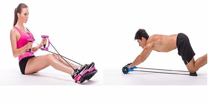 VSOAIR Multi-función AB Rueda Home Fitness Gym Ejercicios de Pesas, Barra para Pesas, Tire de la Cuerda, Twister Cintura, AB Rodillo Rojo: Amazon.es: ...
