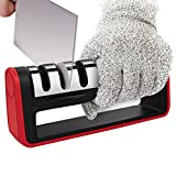 Knife Sharpener - Flight Handheld Kitchen Knife Sharpener Blade Sharpener Kitchen Accessories 3-Stage Knife Sharpening System Manual Sharpening Tool with Bonus 1 Cut-Resistant Glove Included