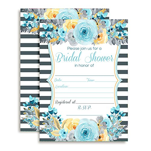Amanda Creation Watercolor Floral Blue, Gray and Gold Bridal Shower Fill in Invitations Set of 20 Including envelopes