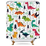 Riyidecor Dinosaurs Shower Curtain Colorful Free Metal Hooks 12-Pack Dino Cartoon Kids Jurassic Elasmosaurs Decor Fabric Bathroom Set Polyester Waterproof 72x72 Inch