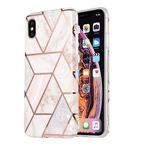 iPhone Xs Max Case Marble Glitter Rose Gold Full Body Coverage Phone Case TPU Rubber Silicone Protective Case for iPhone 10/Xs Max 6.5 Inch (Pink Grey)