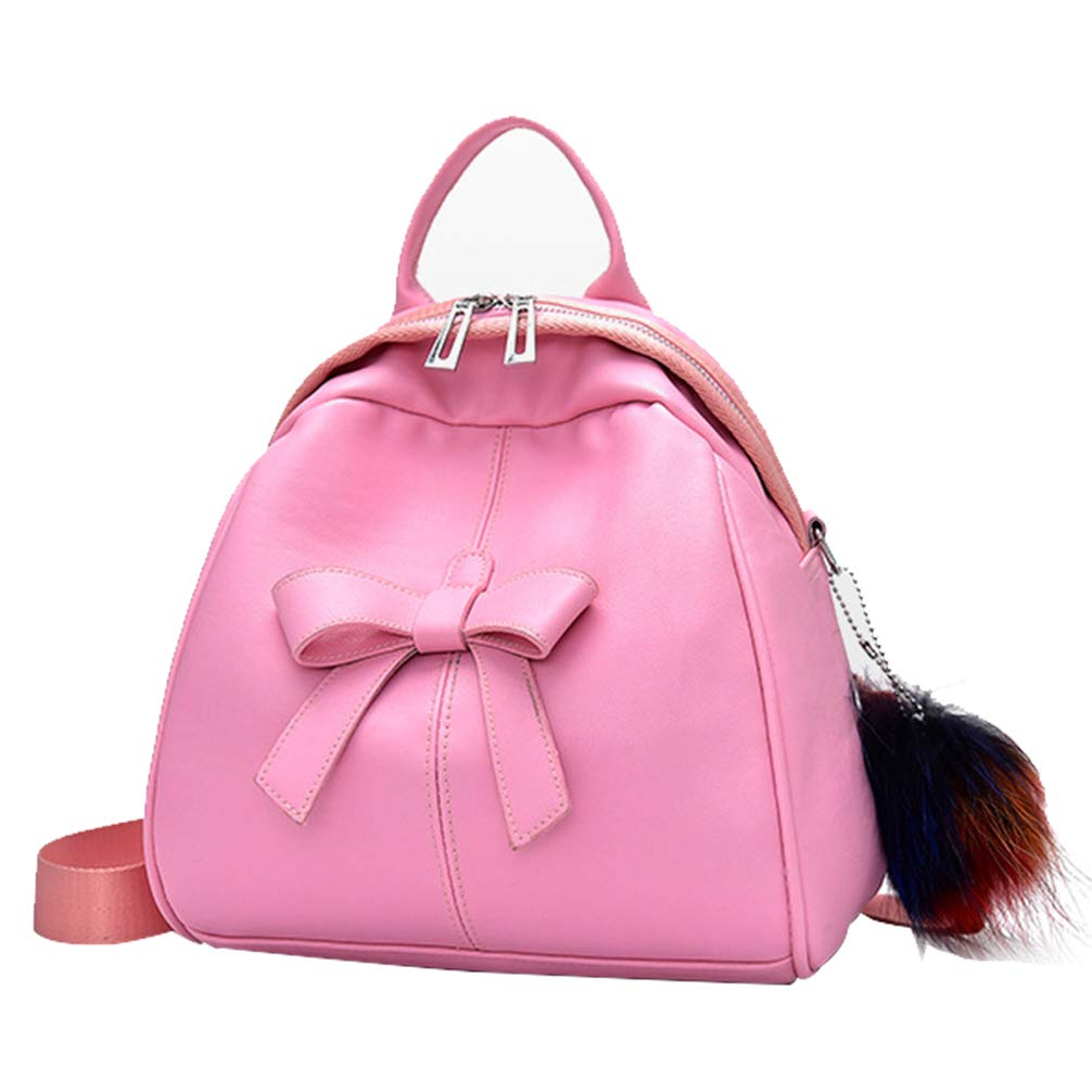 Women Mini Leather Backpack with Cute Bowknot and Hairball Decor Daily Purse