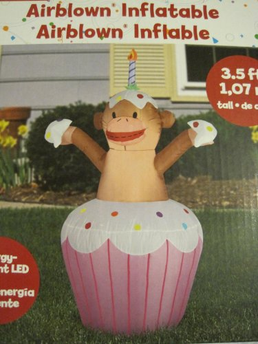 Airblown Inflatable Happy Birthday Cupcake with Sock Monkey