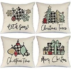 Christmas Farmhouse Home Decor AENEY Christmas Pillow Covers 18×18 Set of 4, Buffalo Plaid Tree Ornaments Rustic Winter Holiday Throw Pillows Farmhouse… farmhouse christmas pillow covers