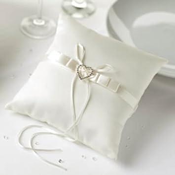 ivory heart wedding ring cushion