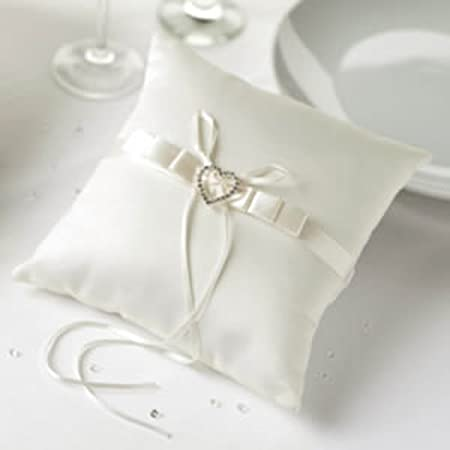 Ivory Heart Wedding Ring Cushion Amazoncouk Kitchen Home