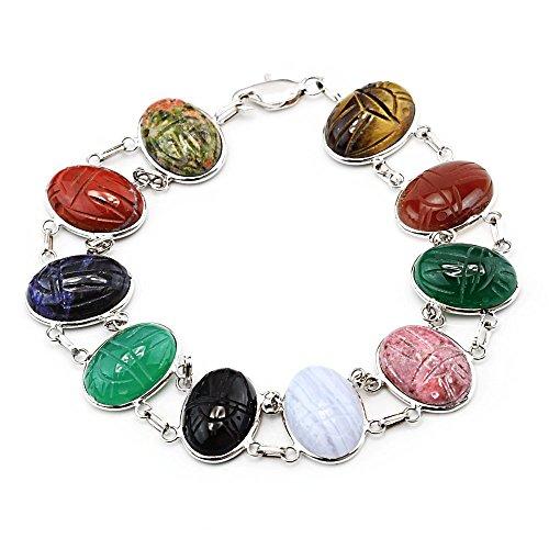 14k White Gold Handmade Double Link Scarab Bracelet With Oval Gemstones