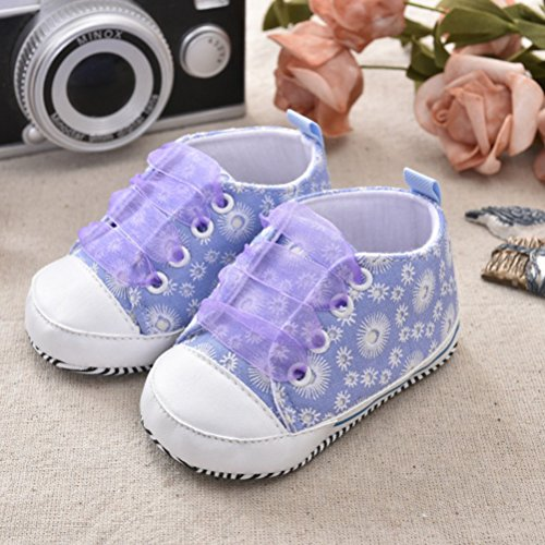 Zhhlinyuan Toddler Bebé Girls Soft Anti-slip Soled Canvas Floral Shoes Sneaker GL009 Purple