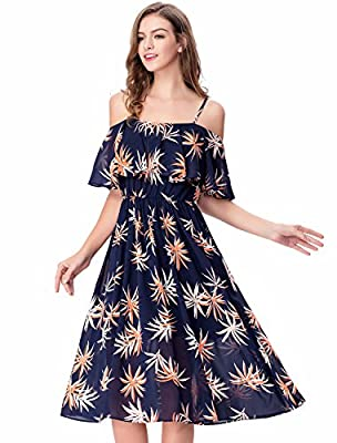 Noctflos Women's Floral Chiffon Cold Shoulder Summer Spaghetti Strap Midi Dress
