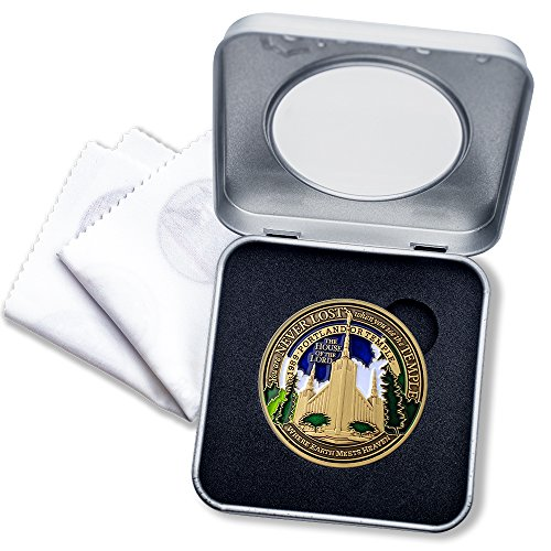 - LDS Portland OR Temple Medallion with Deluxe Display Tin Box and bonus polishing cloth