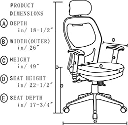 Anji Modern Furniture 8018 BK Fully Adjustable Mesh Office Computer Chair  With Adjustable Lumbar Support