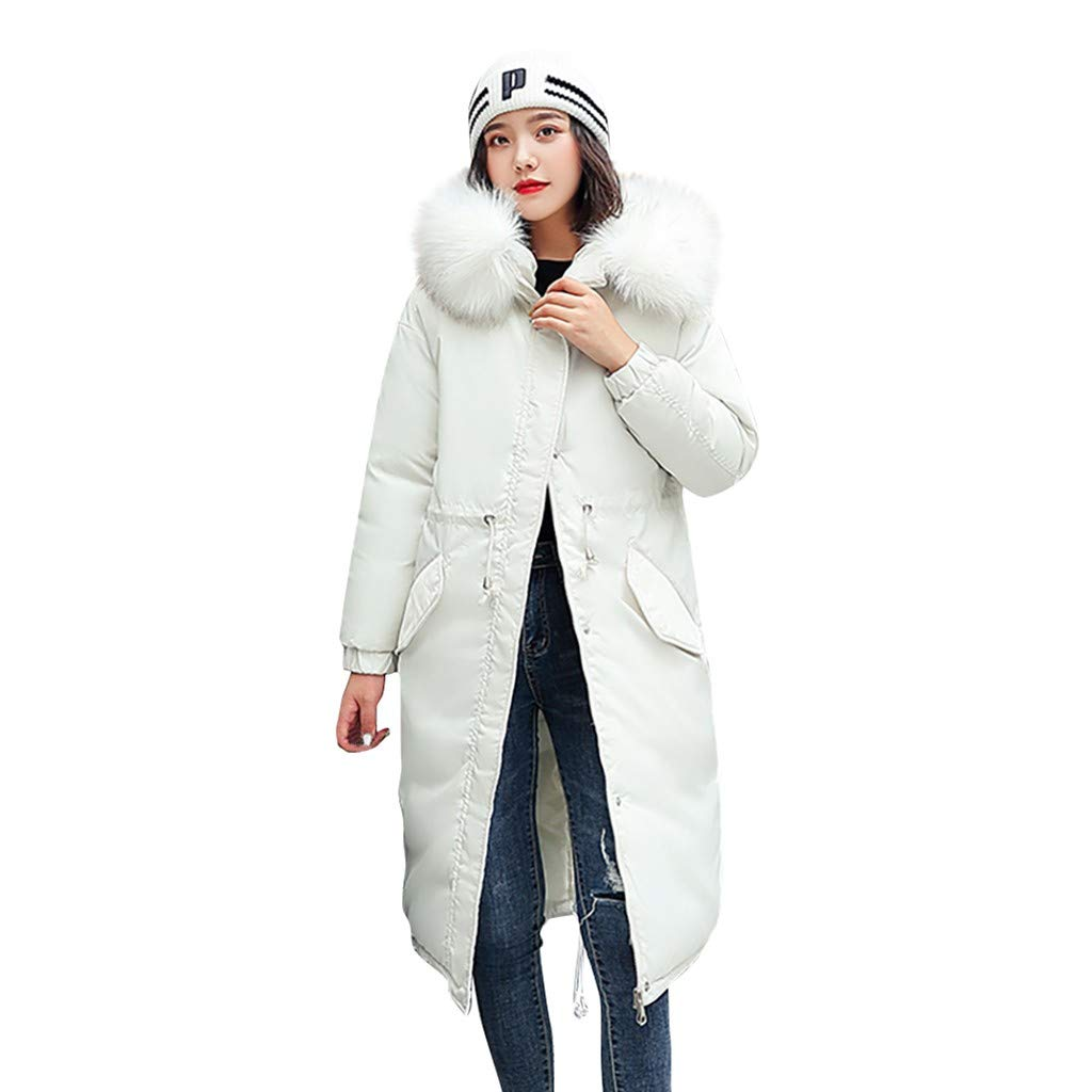 Lefthigh Fashion Winter Women Outerwear Long Sleeve Hooded Jackets Cotton-Padded Pockets Bandage Coats 2020 New (White, XXX-Large) by Lefthigh