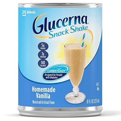Diabetic Drink (GlucernaSnack Shake, To Help Manage Blood Sugar, Homemade Vanilla, 8 fl Oz, 16 Pack)