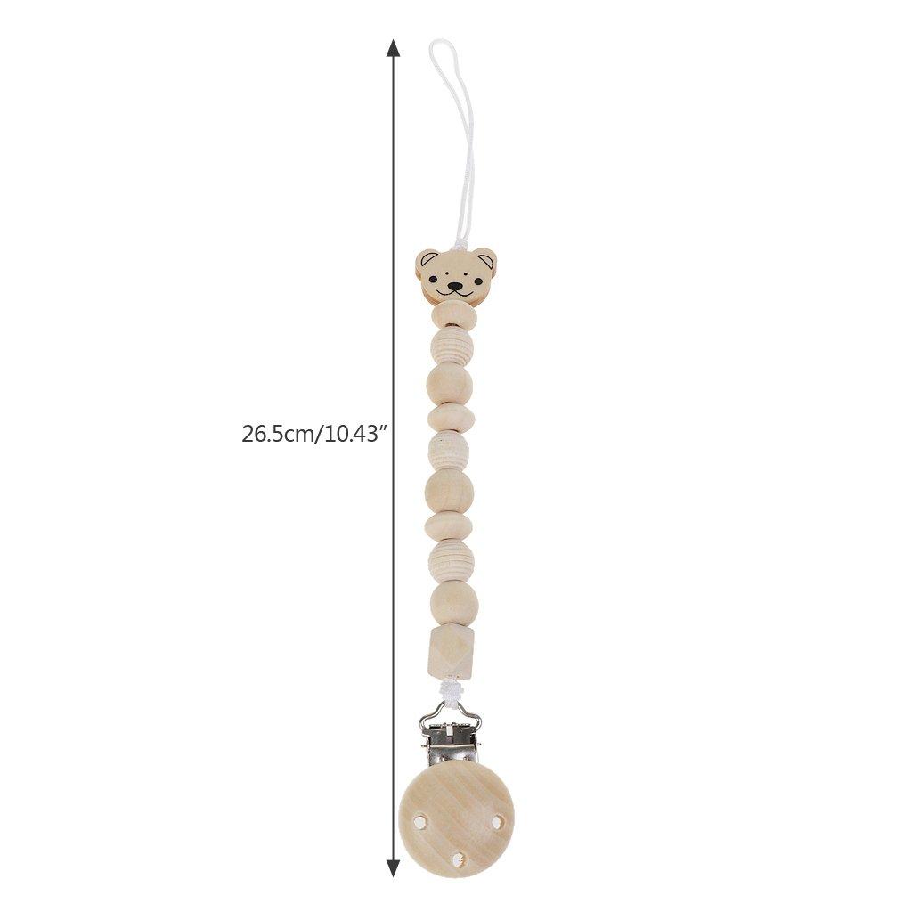 Baby Dummy Chain Wood Pacifier Clip Bear Head Bead Dummy Clip Infant Teether Toy